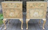Pair Painted & Decorated Bedside Cabinets